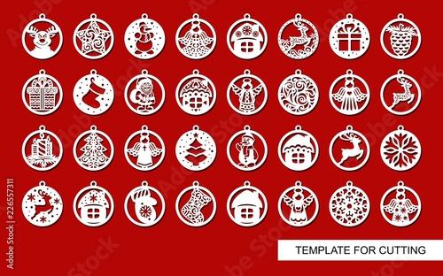 Big Set Of Christmas Decorations Balls With A Santa Claus Deer