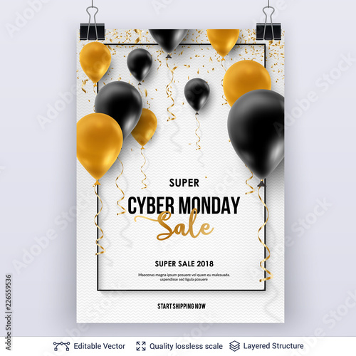 Cyber Monday Sale Background with air balloons