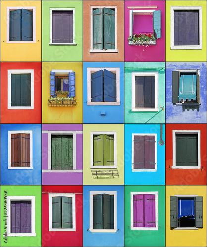 Foto Murales Collage of colorful windows with frames in Burano, Venice, Italy