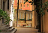 Rome, Italy, cozy court in the old city before sunset