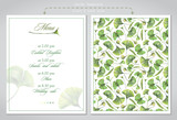 Cards templates for wedding printing: menu or invitations. Illustration of colored pencils, green leaves of ginkgo biloba. - 226564130