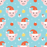 Cute seamless pattern vector background with pig character in santa hat, christmas balls, snowflakes and gifts for winter holidays design. - 226564772