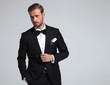 Leinwandbild Motiv sexy elegant man wearing tuxedo and bowtie posing