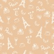 seamless pattern with france objects memories