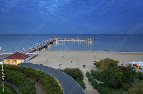 Baltic Sea pier (Molo) in Sopot at dusk, Poland