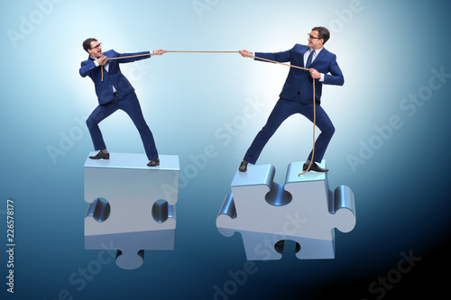 Leinwanddruck Bild Business concept of teamwork and competition