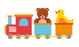 toys kids train bear and rubber duck