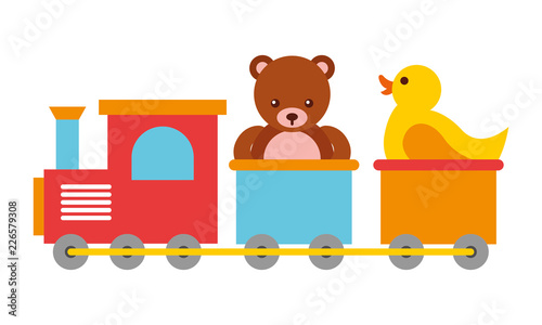 Fototapeta toys kids train bear and rubber duck