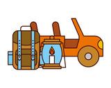 jeep vehicle rucksack and lantern safari equipment supplies