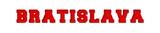 Bratislava - red text written on white background