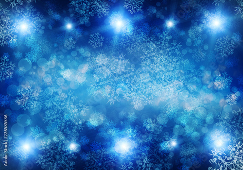 Christmas background with fir branches, lights, snowflakes, bokeh. - 226585536