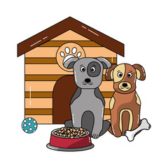 two dog sitting domestic with house and food