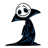 Funny black cloak ghost nightmare character cartoon illustration isolated image - 226591578