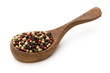 Quadro Pepper mix seed on spoon on white background.