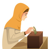 Muslim Woman Making Money Donation Illustration