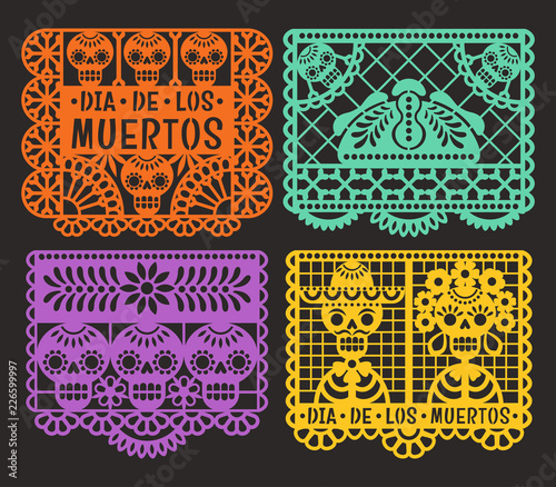 Day of the Dead. Papel Picado. Vector collection of traditional Mexican paper cutting templates. Isolated on black background. © nadzeya26