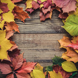 Square frame of autumn leaves - 226620981