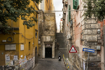 Streets of Naples old town Italy
