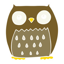 Flat Color Style Cartoon Owl Sticker