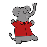 cartoon doodle elephant wearing shirt