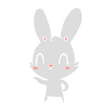 cute flat color style cartoon rabbit