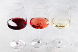 Red, rose and white wine glasses