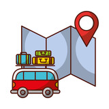van car suitcases location map travel vacations