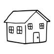 line drawing cartoon house - 226682148