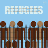 Migrants and refugees are standing behind closed and shut barrier, fence made of barbed wire. Eps10 vector illustration - 226687552