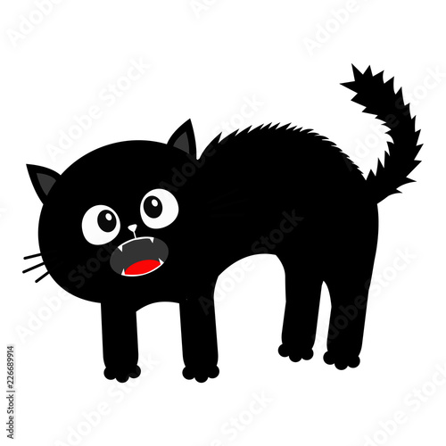 Screaming kitten. Frightened cat arch back. Hair fur stands on end. Eyes, fangs, moustaches whisker. Cute funny cartoon character. Happy Halloween. Isolated White background. Flat design.