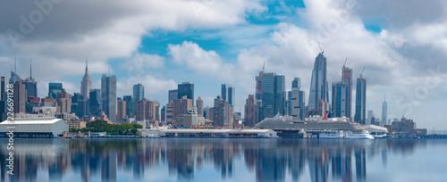 New York City, July 24, 2018 Manhattan Midtown skyline at dusk over Hudson River, New York City - 226691128