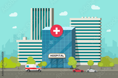mata magnetyczna Hospital building vector illustration, flat cartoon modern medical center or clinic on city street