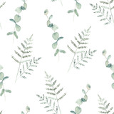 Watercolor seamless pattern witn eucalyptus  and fern branch. Hand drawn illustration. Floral background - 226697706