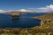 Quadro Terraced landscape of Isla del Sol with Andes mountains in the background on the Bolivian side of Lake Titicaca