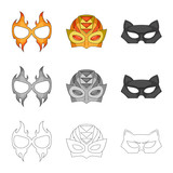 Vector illustration of hero and mask icon. Collection of hero and superhero stock symbol for web.