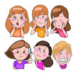 Set of vector drawings, cartoon characters, emotions and feelings of little girls - 226710344