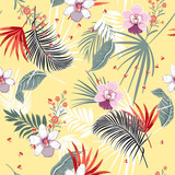 Beautiful vector seamless beautiful artistic Bright summer tropical pattern with exotic forest. Colorful original stylish floral mix with leaves - 226711597