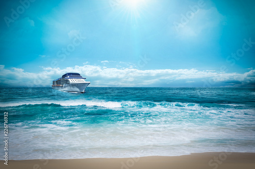 Fototapeten Strand Summer vacation concept- Cruise ship on Beach Sea 1