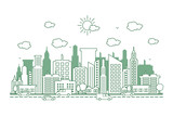 City Cityscape Skyline Street Road Line Design Illustration