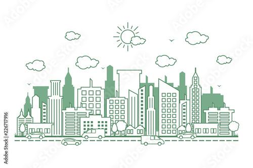 City Cityscape Skyline Street Road Line Design Illustration