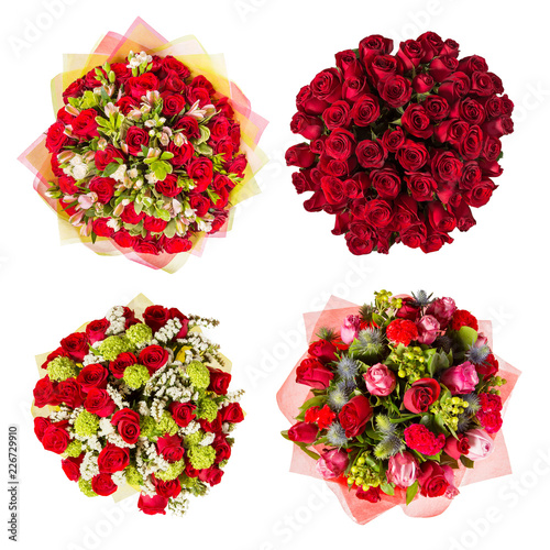 Leinwandbild Motiv Top view of four colorful flower bouquets