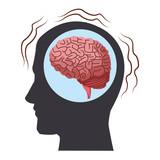 Alzheimer brain inside head silhouette