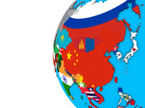 Asia with national flags on blue political 3D globe. - 226735198