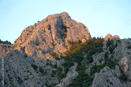 Sticker Beautiful huge mountain hills in Omis, Croatia.