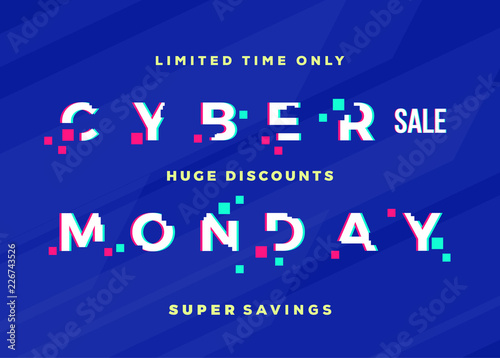 Cyber Monday Sale Abstract Vector Card, Flayer or Poster Template. Modern Typography, Pixels and Glitch Effect. Electronics Discount Offer Banner. Blue Digital Background