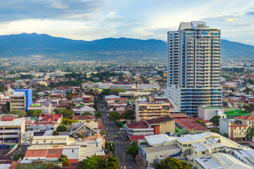 San Jose Costa rica capital city street view with mountains in the back © mbrand85
