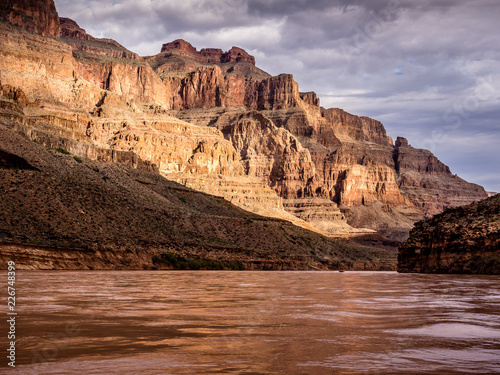 sunrise in the grand canyon by the river