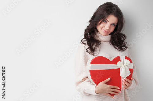 Girl with red heart-shaped box - 226752507