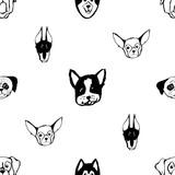 Seamless pattern with Dog breeds. Bulldog, Husky, Alaskan Malamute, Retriever, Doberman, Poodle, Pug, Shar Pei, Dalmatian. Hand drawn black and white vector illustration Doodle style design