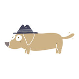 flat color style cartoon little dog wearing hat